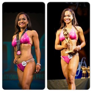 (Left: May takes 4th place - Open Age Fitness Model Short Category and Right: 3rd place in Masters (40+) Fitness Model Short Category)